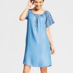 KNOX ROSE Embroidered Denim Cotton Shift Dress